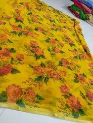 Pure Chiffon Flower Print Saree
