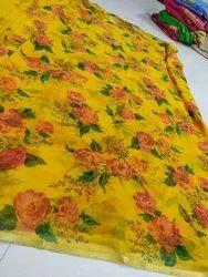Pure Chiffon Flower Print Saree