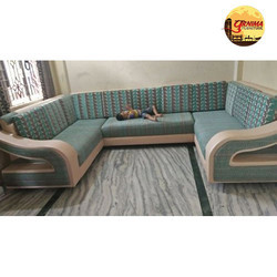 Printed U Shaped Sofa Set