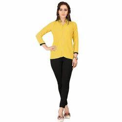 Georgette Yellow Casual Wear Tops