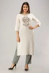 Formal Wear Designer Rayon Embroidered Kurtis