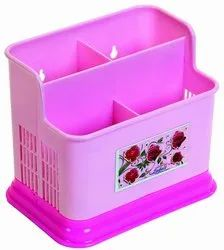 Plastic Pink Colored Cutlery Stand for Office