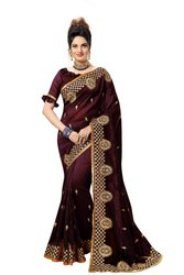 Border Festive Wear Fancy Look Satin Embroidery Saree with Blouse Piece(K835)