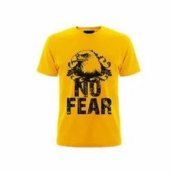 Yellow Cotton Printed T Shirt