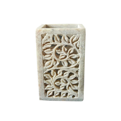 Jagdamba Marble Handicraft. Soapstone Pen Stand, Size: 4 Inch