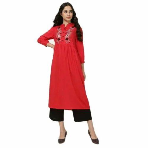 Ocean Women Cotton And Cotton Rayon Ladies Red Kurti