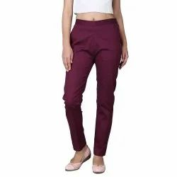 Cotton Flex Solid Purple Ankle Length Casual Pant With Both Side Pocket