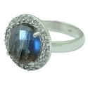 LABRADORITE CZ SET GEMSTONE RING