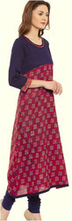 Ladies Cotton 3/4th Sleeve Long Kurti