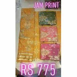Wedding Wear Unstitched Ladies Jam Silk Suit, Free Size