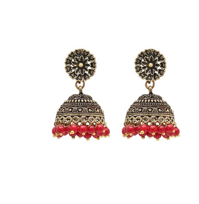 Metal Br With Oxidised Gold Plating Oxidized Earrings Red Color Pearls