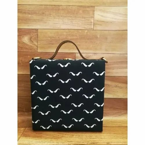 Black Azzra Digital Print Color Fabric Handbag