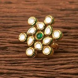 Kundan Classic Ring with Gold Plating 300351