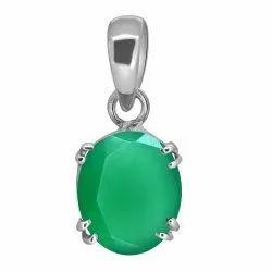 Green Onyx Stone Pendant Silver Gemstone