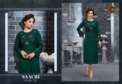 Green Woman 10AM Bell Sleeves Kurti