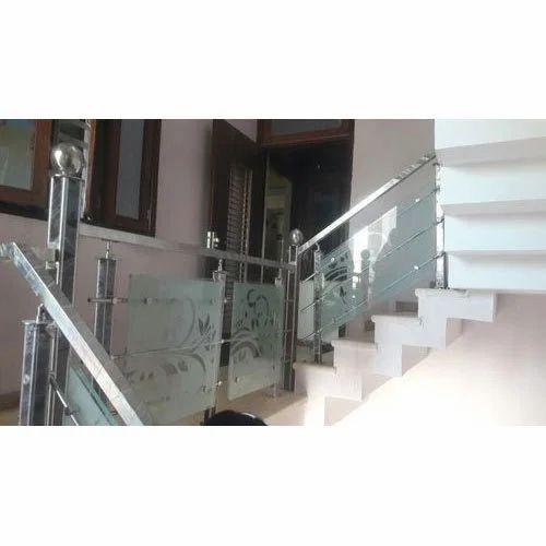 Staircase Glass Railing Designs: Panel Designer Glass Stair Railing, Rs 500 /square Feet