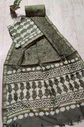 Unstitched Unstitch Bagru Hand Block Indigo Chanderi Suit With Dupatta, Dry clean