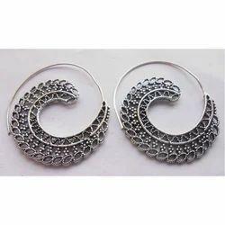 Handmade Spiral Silver Plated Brass Earrings