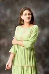 Long Pattern Design Green Color Embroidered Kurtis