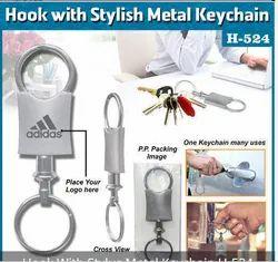 Hook With Stylus Metal Keychain