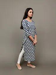 Casual Wear 3/4th Sleeve Blue Cotton Hand Block Print Straight Kurti