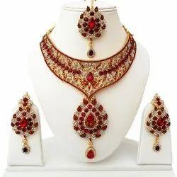 Designer Wedding CZ Necklace Jewelry, Size: Small