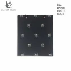Beautiful eco friendly and unique gift bag with buttons - black paper and white owls print