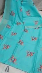 Linen Bird Embroidered Saree
