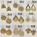 Brass Cut Work Earring, Size: 4 Cm