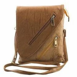 Pu Leather Adjustable Ladies Brown Sling Bag, For Casual Wear