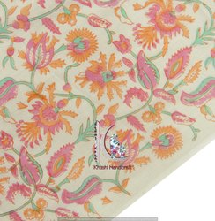 6 Kam Gad, Gal Hand Block Bagru Sanganeri Print Floral Cotton Fabric
