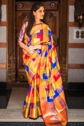 Kanchipuram Silk Saree, Length: 6.3 m