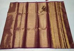 5.5 m (separate blouse piece) Festive Wear Uppadda tissue handloom Saree, With Blouse Piece