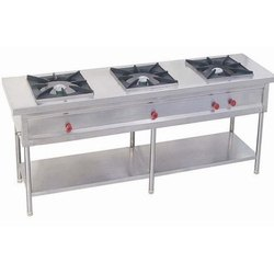 Stainless Steel Triple Burner Gas Bhatti, Number of Burners: 3, Size: 20x39x13 Inch