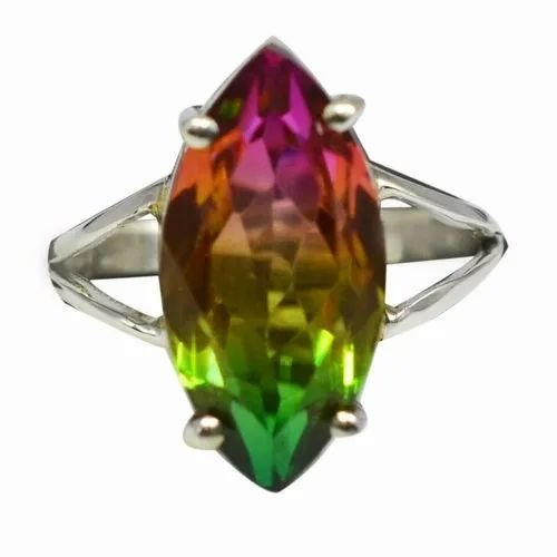Natural Multi Tourmaline Gemstone Ring Solid 925 Sterling Silver Latest Jewelry Size 7