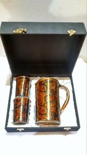 Gold Printed Colorful Copper Jug and Glass Gift Set, Capacity: 2-3 Litres