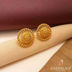 Earring Studs Female 22k BIS Hallmark Jewellery Buy Online -Pastoral Stud Earrings