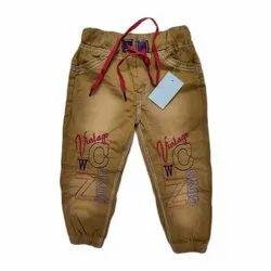 Brown Casual Wear Kids Denim Jeans