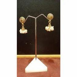 Golden Casual Wear Imitation Designer Brass Hanging Earring
