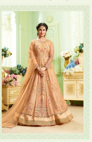 dd37caf152 Party Wear Banglori Satin Butterfly Top Net New Designed Anarkali Suits