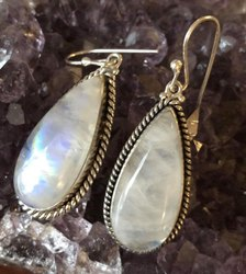 Rainbow Moonstones 925 Sterling Silver Earrings