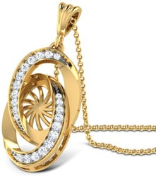 sonali diamond jewellery mfg Gold pendant REAL DIAMOND PENDANT, Packaging Type: Box