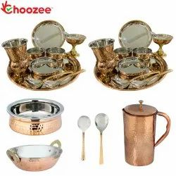 Choozee - Stainless Steel Copper Thali Dinner Set with Serveware & Hammered Pitcher Jug and Matka