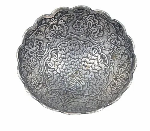 Beautiful Decorative Antique Silver Peacock Crafted Design Silver Dish/Bowl.G10-59
