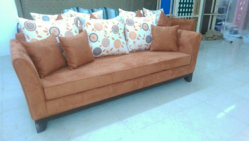 Modern Brown Designer three Seater Sofa, 5 Inch, for Home