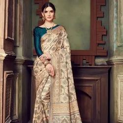Cream Printed Manipuri Silk Saree