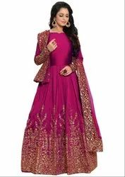 Rani Pink Silk Heavy Anarkali Suit