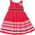 Cotton Casual Wear Red Striped Kids Girl Frock, Age Group: 1-8 Years