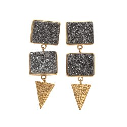 New Designer Black Druzy Earring