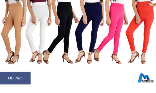 Megha Red and Navy Blue Plain Leggings, Size: Free Size